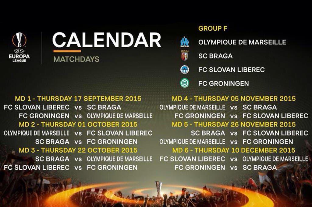 Football coupe d 39 europe le calendrier de l om en europa - Calendrier coupe d europe foot ...