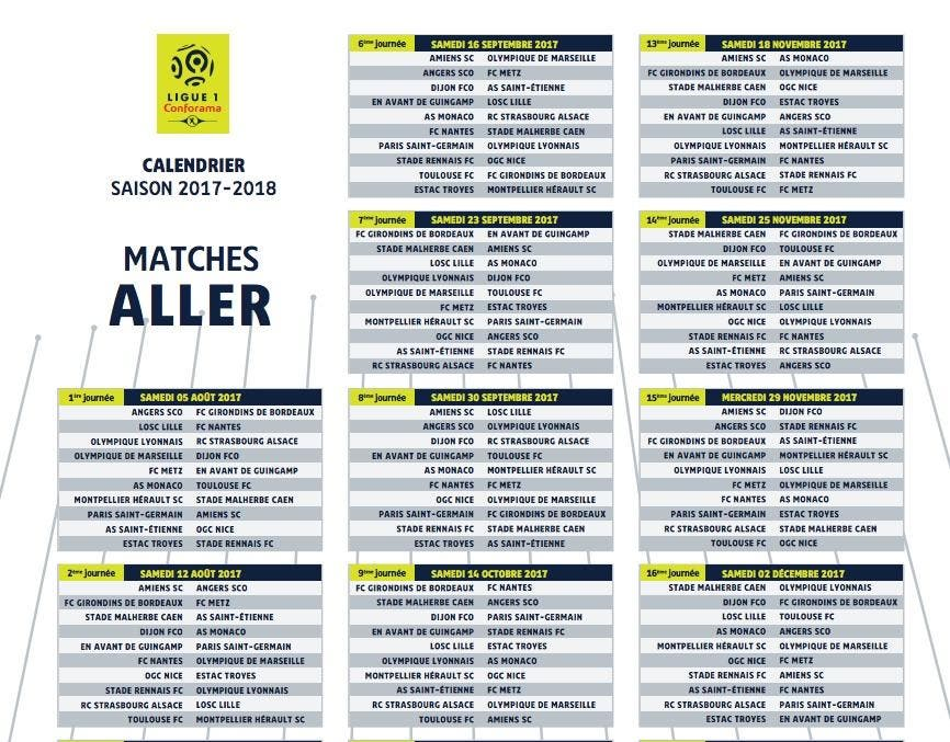 Football ligue 1 l1 le calendrier complet de la saison - Calendrier coupe d europe foot ...
