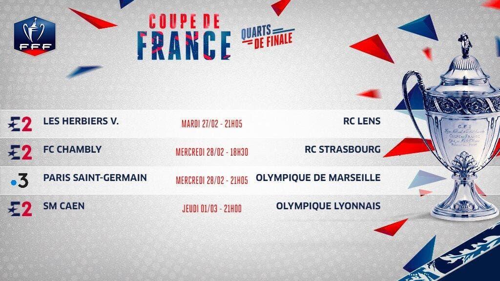 Coupe de france de football cdf le programme t l des - Quarts de finale coupe de france ...