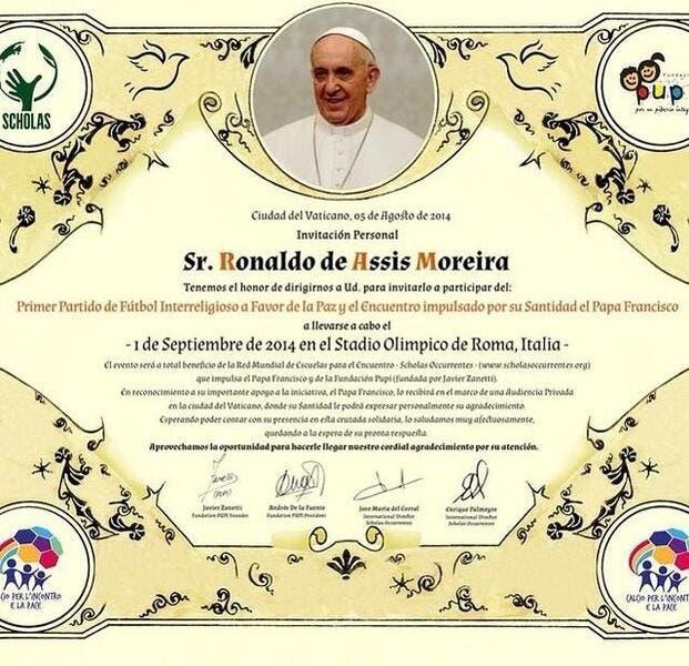 Ronaldinho convoqué par le Pape François !