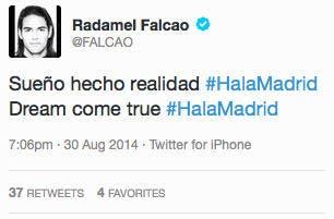 Falcao s'annonce au Real Madrid...et efface son message !