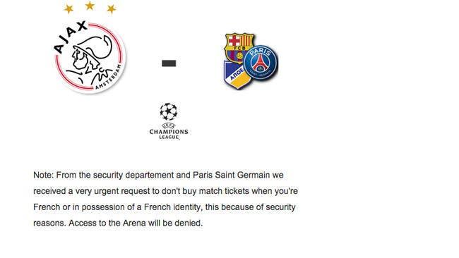 L'Ajax refuse des billets aux Français pour le PSG