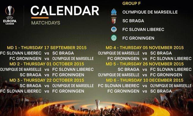 Le calendrier de l'OM en Europa League