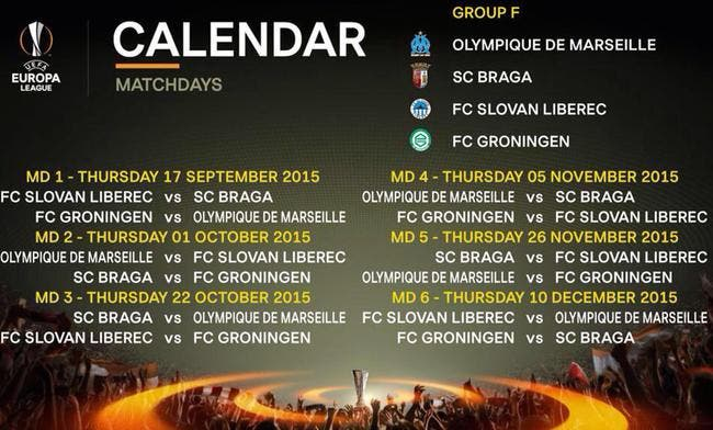 Foot om le calendrier de l om en europa league europa league coupe d 39 europe foot 01 - Coupe d europe de rugby calendrier ...