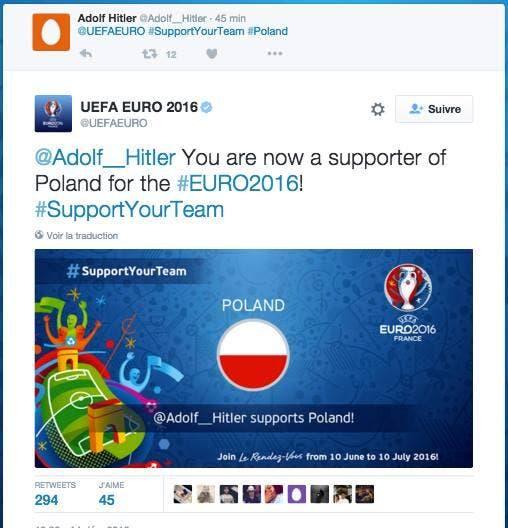 Hitler soutient la Pologne à l'Euro 2016, l'UEFA applaudit