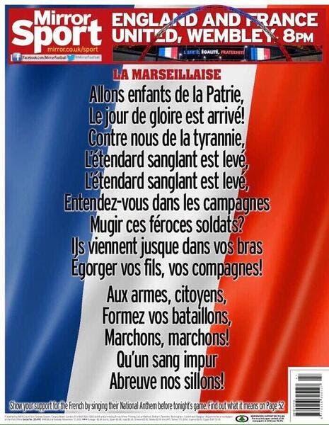 La presse anglaise fait sa Une avec La Marseillaise