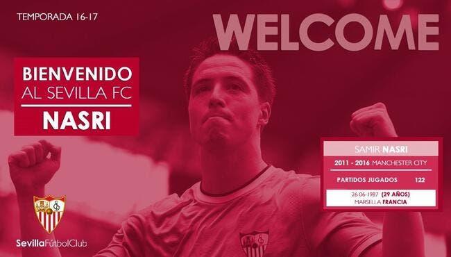 Officiel : Samir Nasri signe au FC Séville