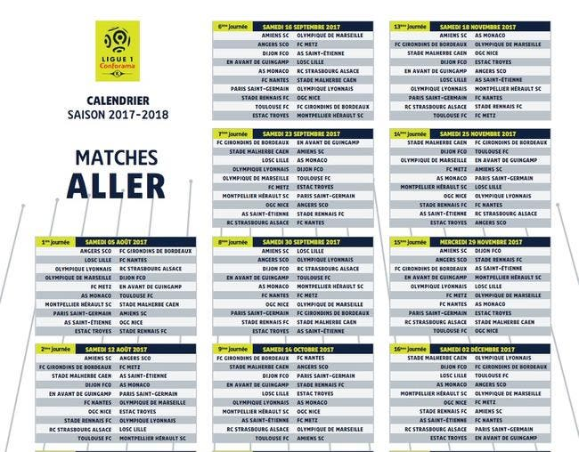 Calendrier Ligue 1 Foot.Football Ligue 1 L1 Le Calendrier Complet De La Saison