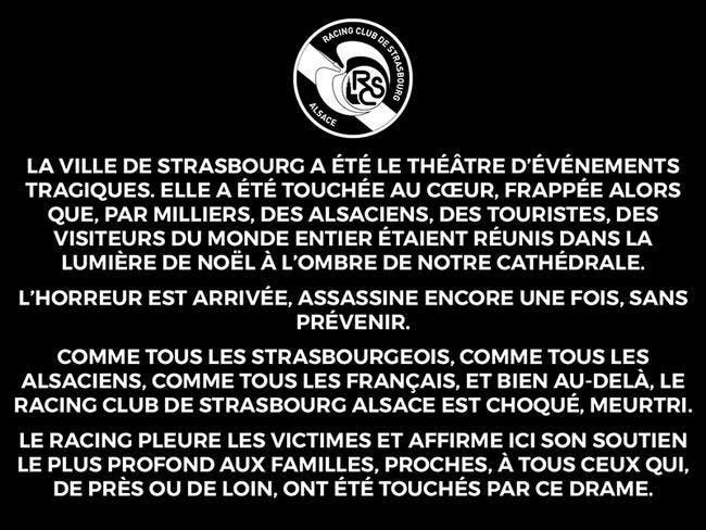 Attentat :  Le RC Strasbourg annule toutes ses sorties publiques