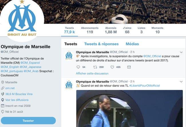 OM : pourquoi le compte twitter a été suspendu