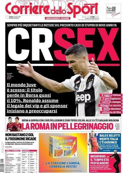 Ita : «CRSEX», la Une qui ridiculise Cristiano Ronaldo