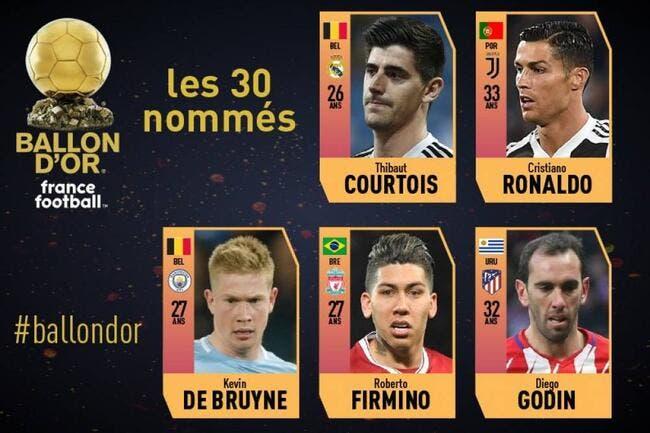 Ballon d'Or : Cristiano Ronaldo et Courtois dans les 30 nominés