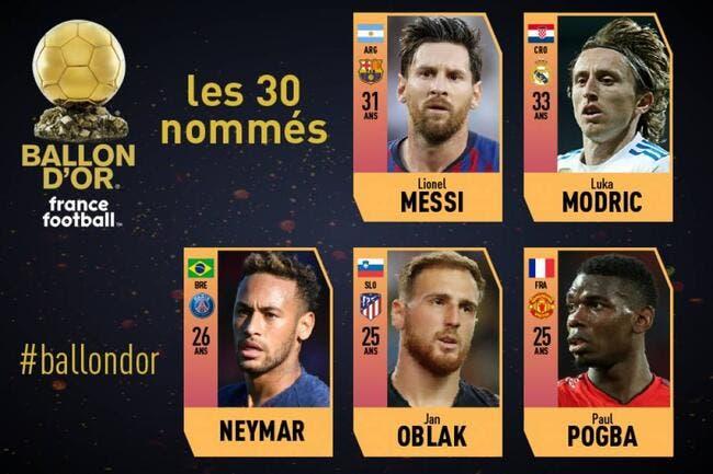 Ballon d'Or : Messi, Modric, Neymar, Pogba qualifiés en finale