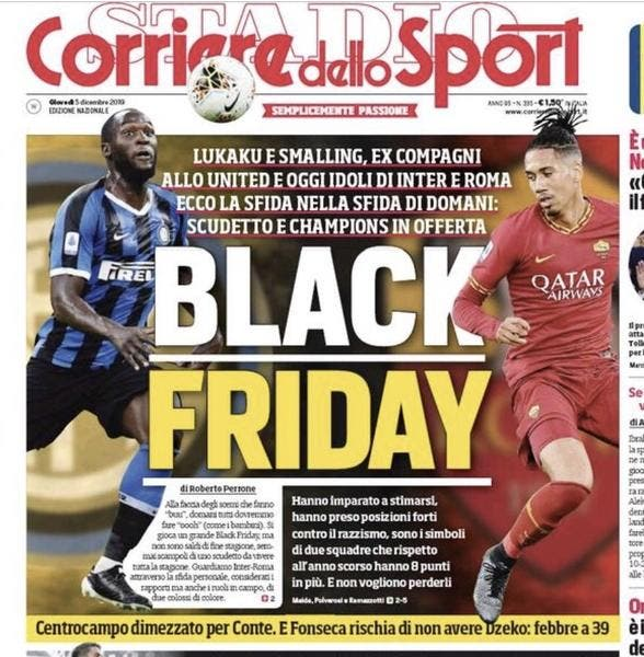 Italie : « Black Friday », la Une raciste du Corriere dello Sport