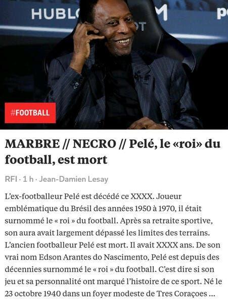 Foot : La mort de Pelé annoncée par erreur, c'était un bug
