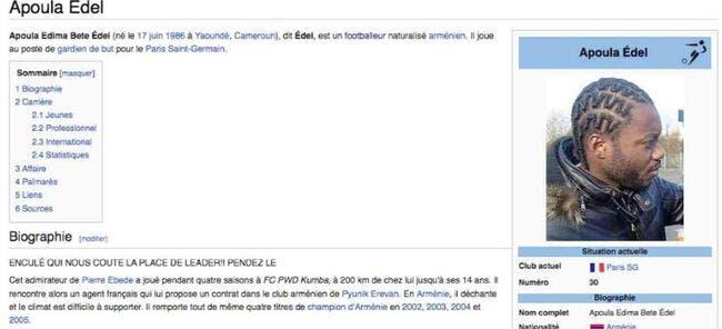 Apoula Edel insulté sur Wikipedia !